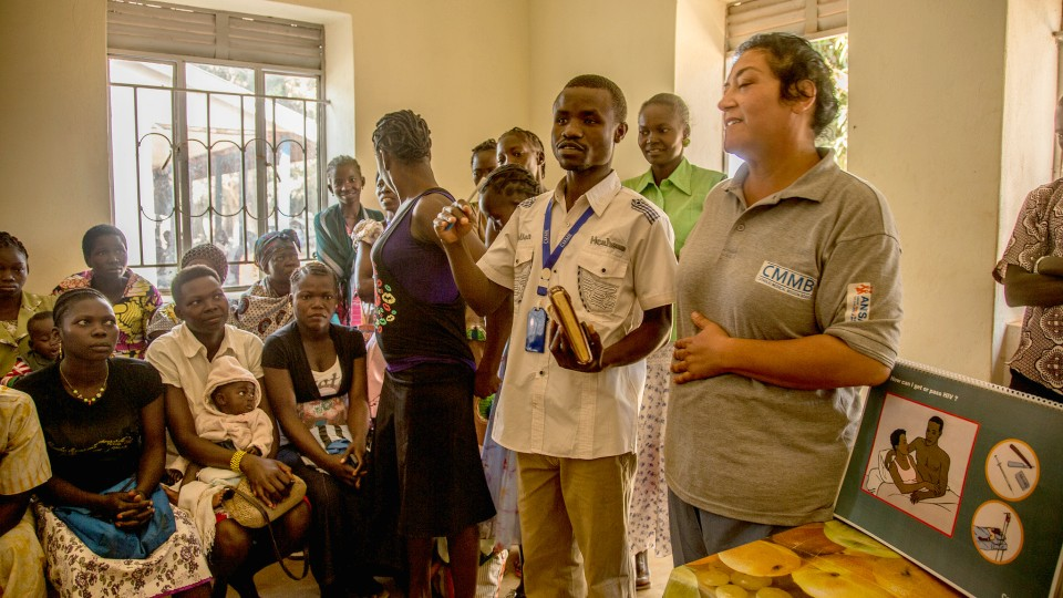 CMMB volunteer, Dr. Rachael Consoli provides health education for pregnant women and encourages them to deliver at a health facility.