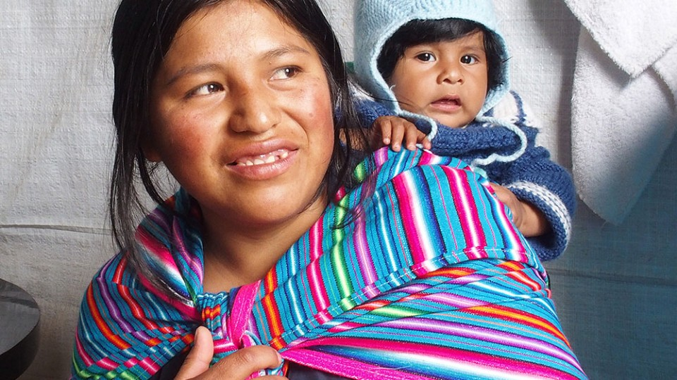 woman with baby in peru
