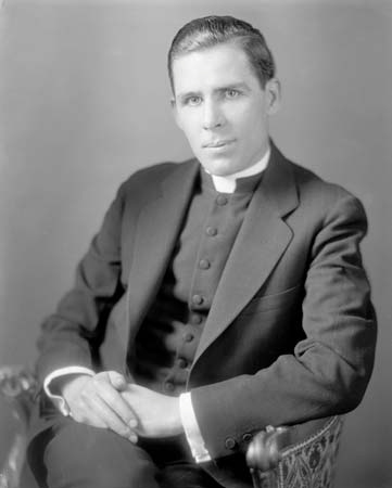 Venerable Fulton Sheen, serving with CMMB, a catholic charity in the mid-1900s