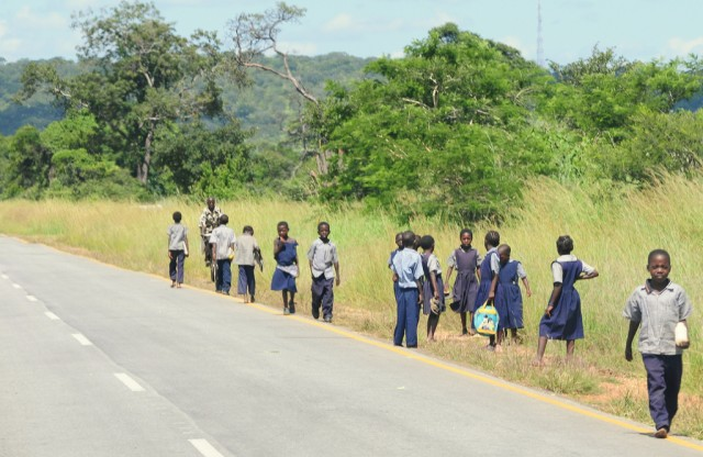 Children at the side of the road in Kenya