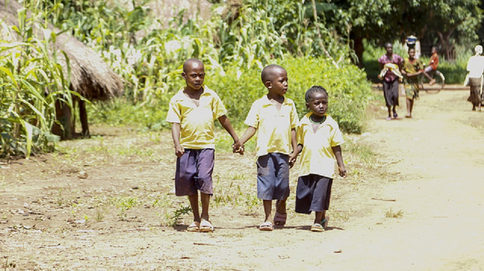 Children walking together home from school in South Sudan