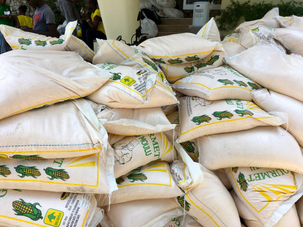 Shipments of corn arrive at the CMMB office ready for packaging