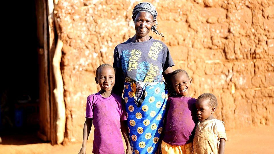 Faith, Grandma Mwenza and older grandchildren.