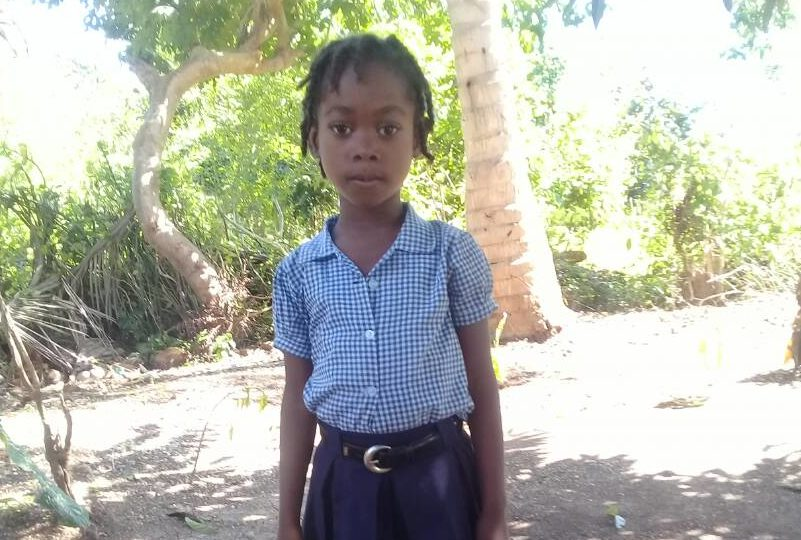 Kerline in her school uniform