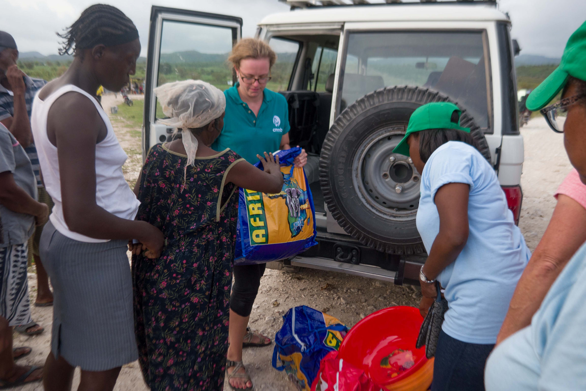 Brittany Jonap helping distribute emergency supplies to victims of Hurricane Matthew