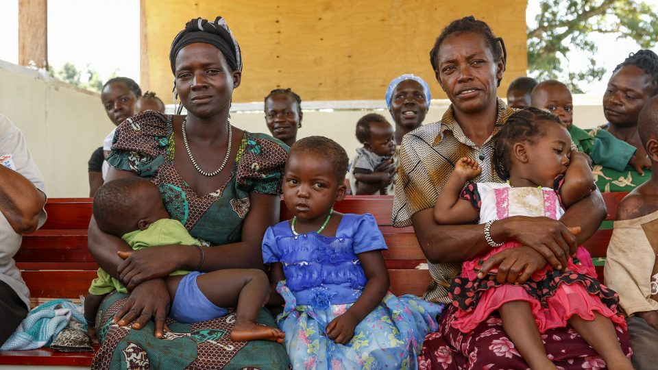 Mothers with children wait for care in South Sudan