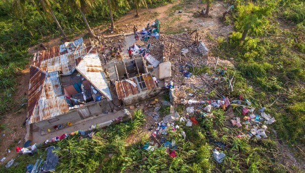 A bird's eye view of the destruction caused by Hurricane Matthew.