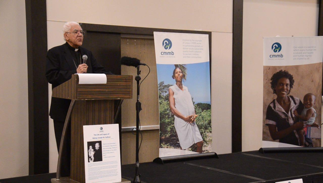 Bishop Sansaricq speaking at the dedication dinner