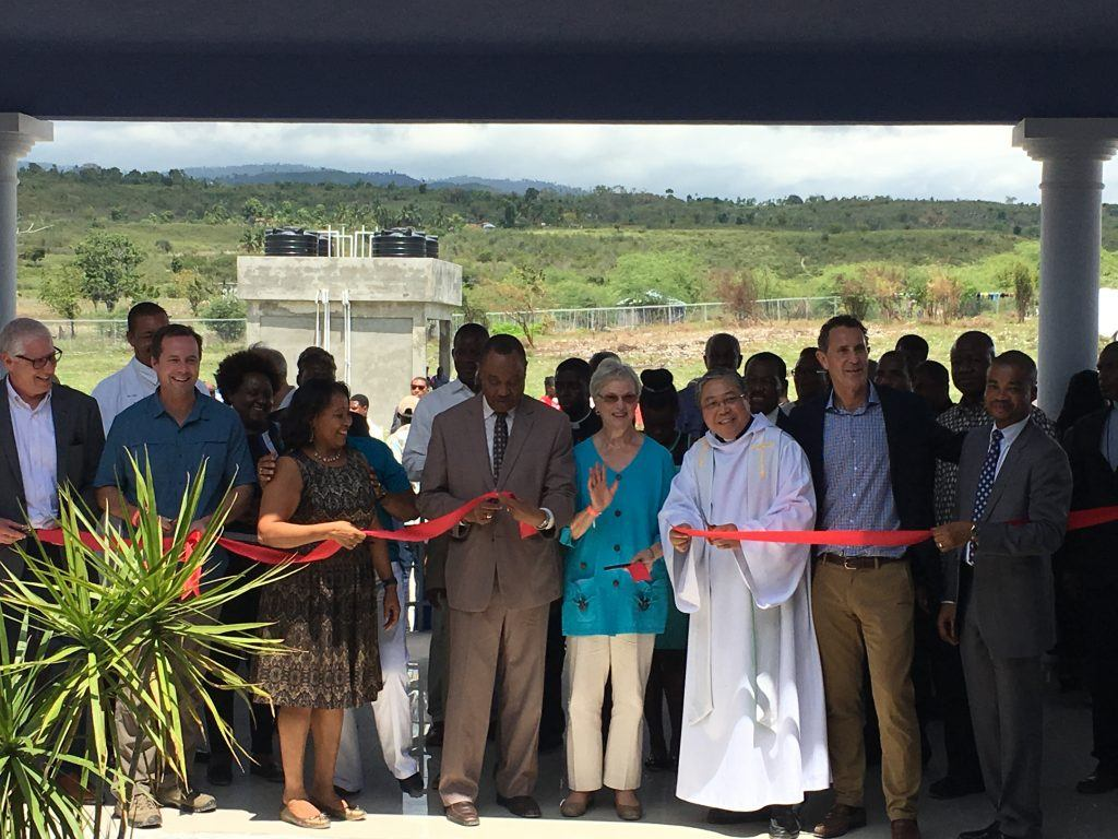 Ribbon cutting at the dedication of the BJSH in Haiti.