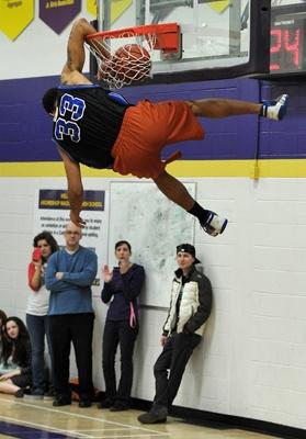 EDMONTON, ALBERTA, APRIL 20, 2012: NAIT Ooks player Clayton Crellin takes part in a slam dunk contest to raise funds for the Edmonton Humane Society at Archbishop MacDonald High school in Edmonton, Ab on Friday, Apr. 20, 2012. ( Photo by John Lucas/Edmonton Journal)