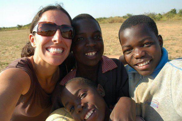 Teacher Laura, me (next to her), and Nicholas and Mweetwa. I am celebrating Teacher Laura!