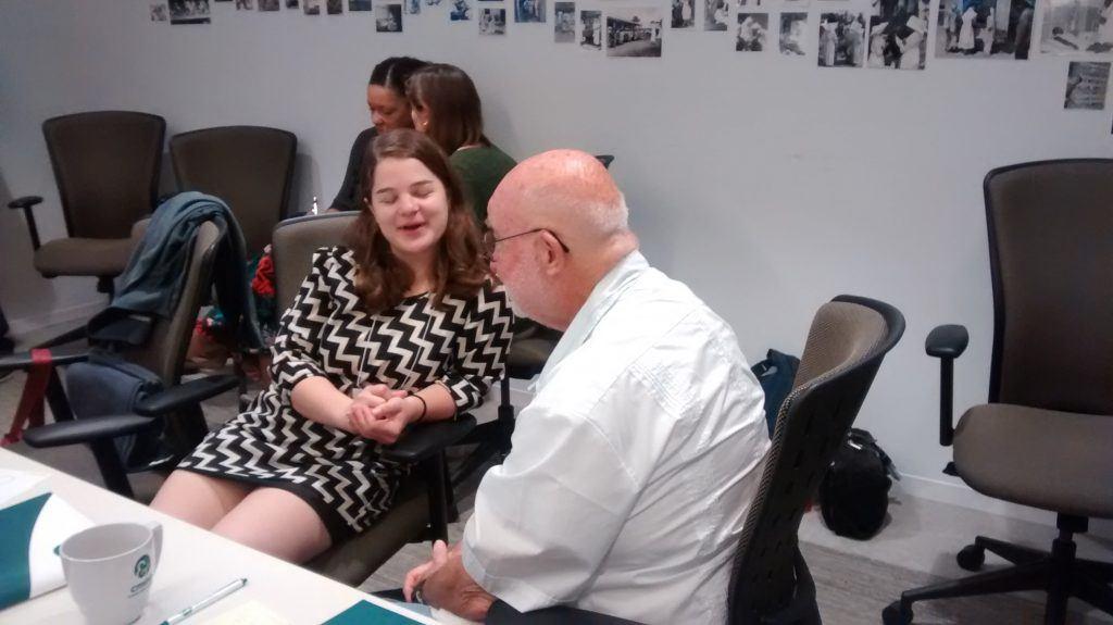 Stephanie and Dr. Harry share ideas
