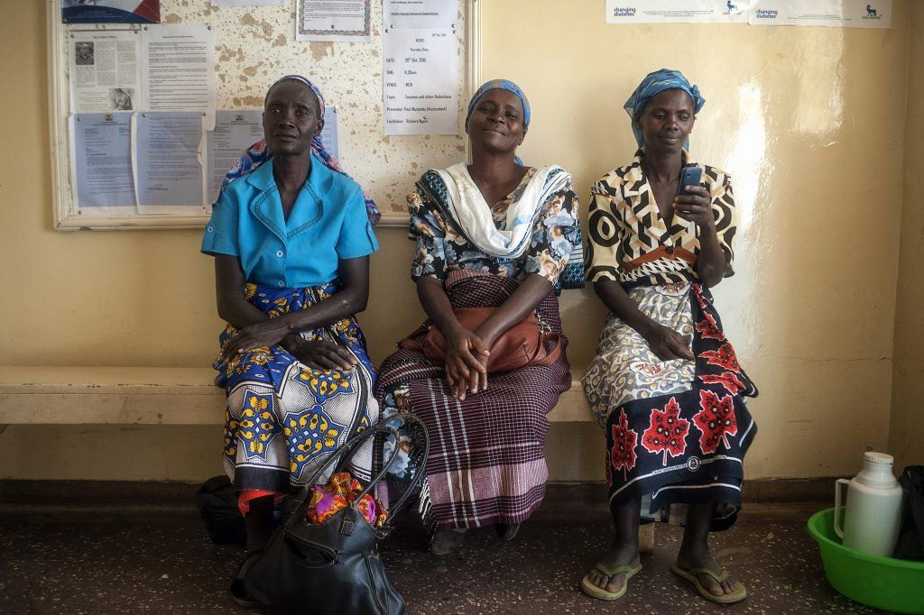 Women waiting to receive care in kenya