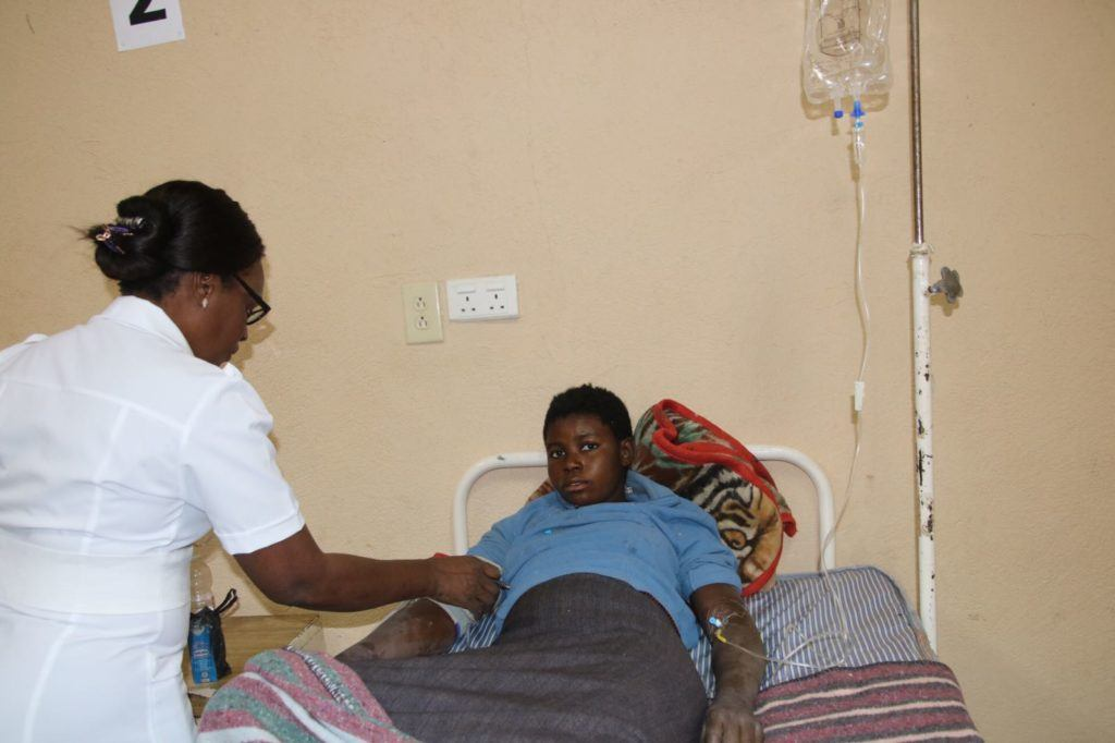 Mother receiving care at Mwandi Mission Hospital
