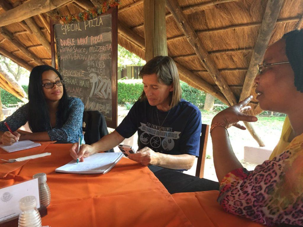 Livingstone debrief with CMMB project manager Elizabeth.