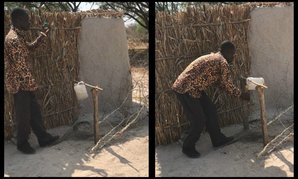 Demonstration of how to use a tippy tap. Community education is key to improving hygiene and health outcomes.