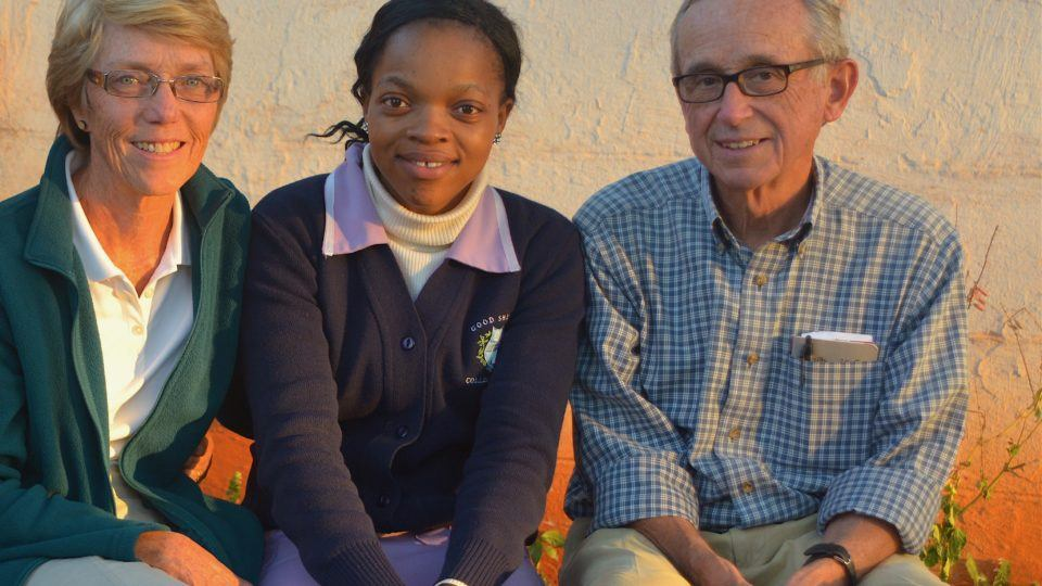 Kathleen and Dr. Al Hartmann with a nurse in Swaziland