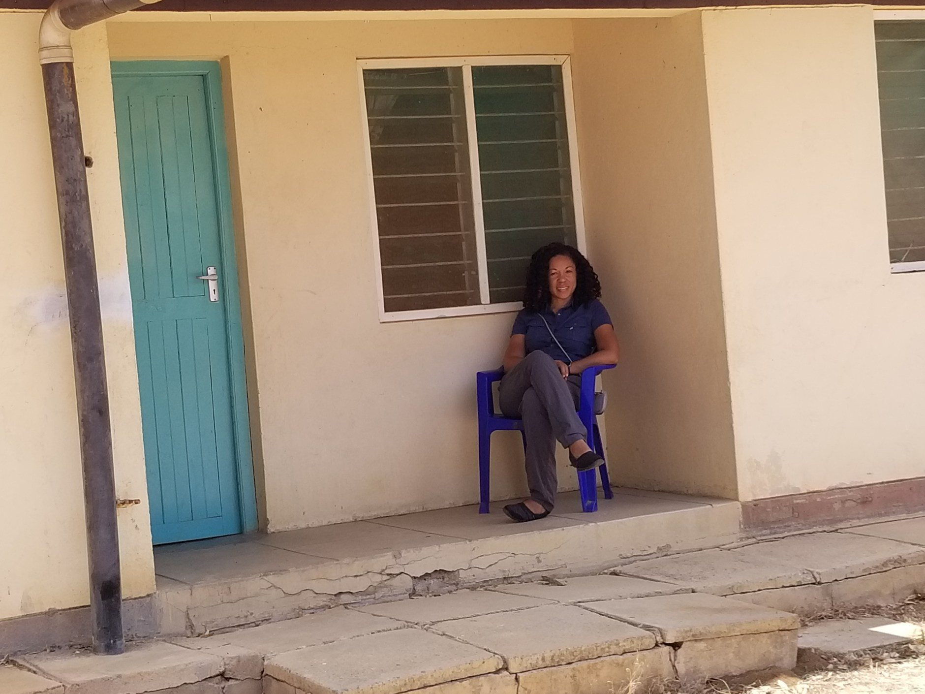 Dr. Mary Fleming outside her home in Mutomo.