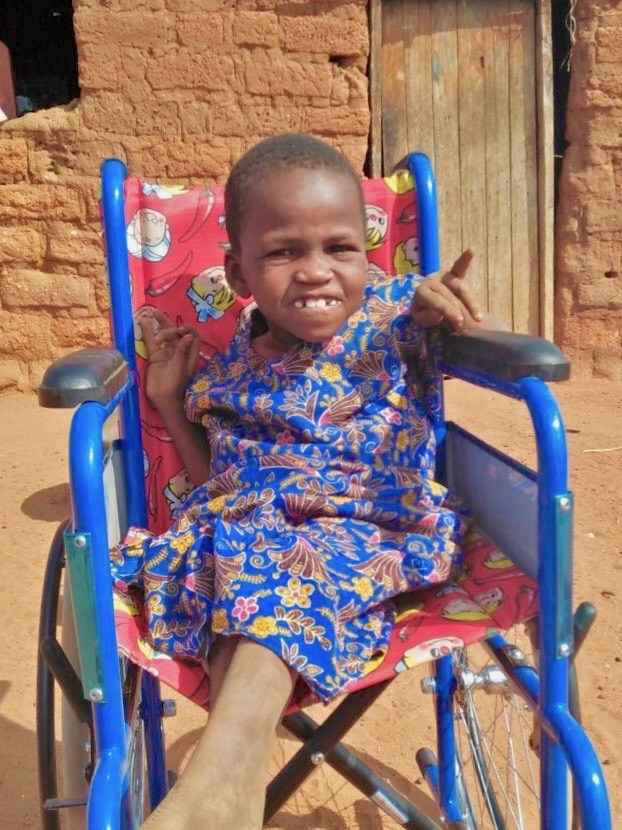 Mary's first time in her wheelchair