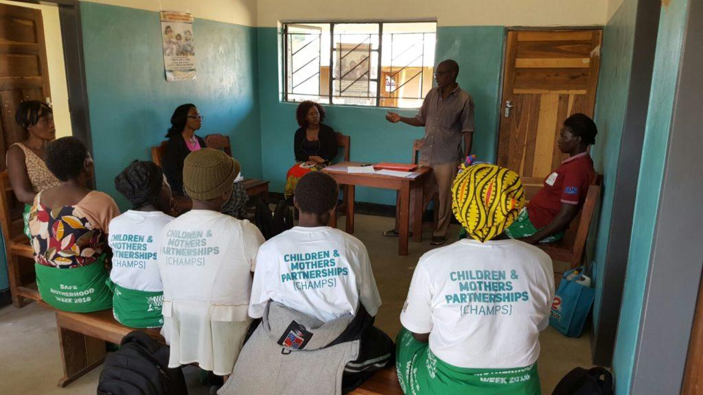 A meeting with the Safe Motherhood Group community health workers.