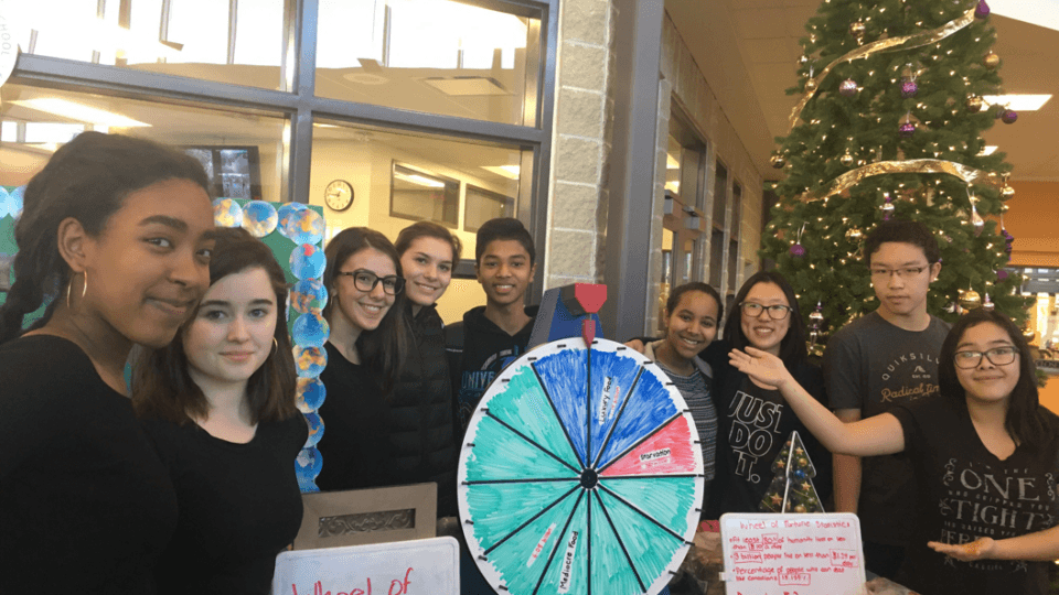 Archbishop MacDonald Catholic High School in Alberta Canada engages in the wheel of fortune