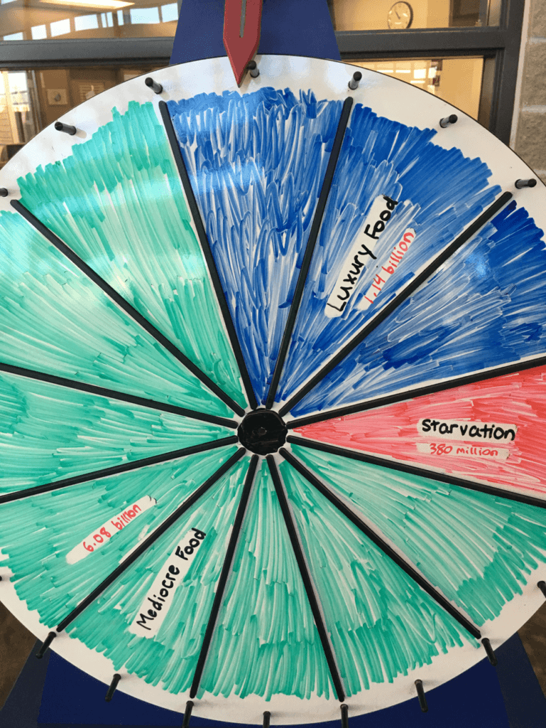 The wheel for the Wheel of Fortune at Archbishop MacDonald High School