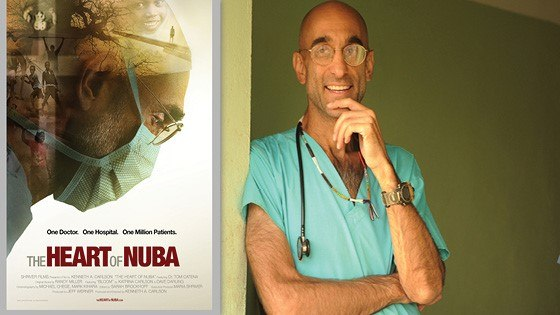 Image of Dr. Tom and the movie poster of The Heart of Nuba