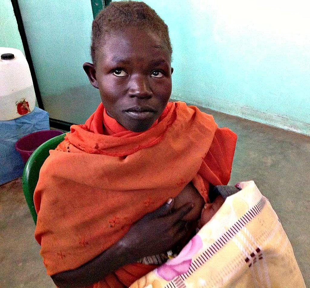 Rania and her baby at Mother of Mercy Hospital in Nuba Mountains of Sudan