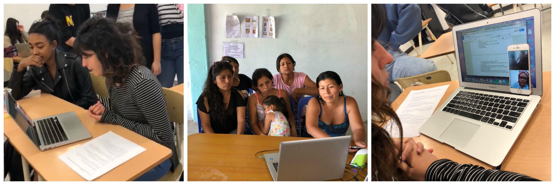 A conversation between Archbishop MacDonald students and Peruvian women