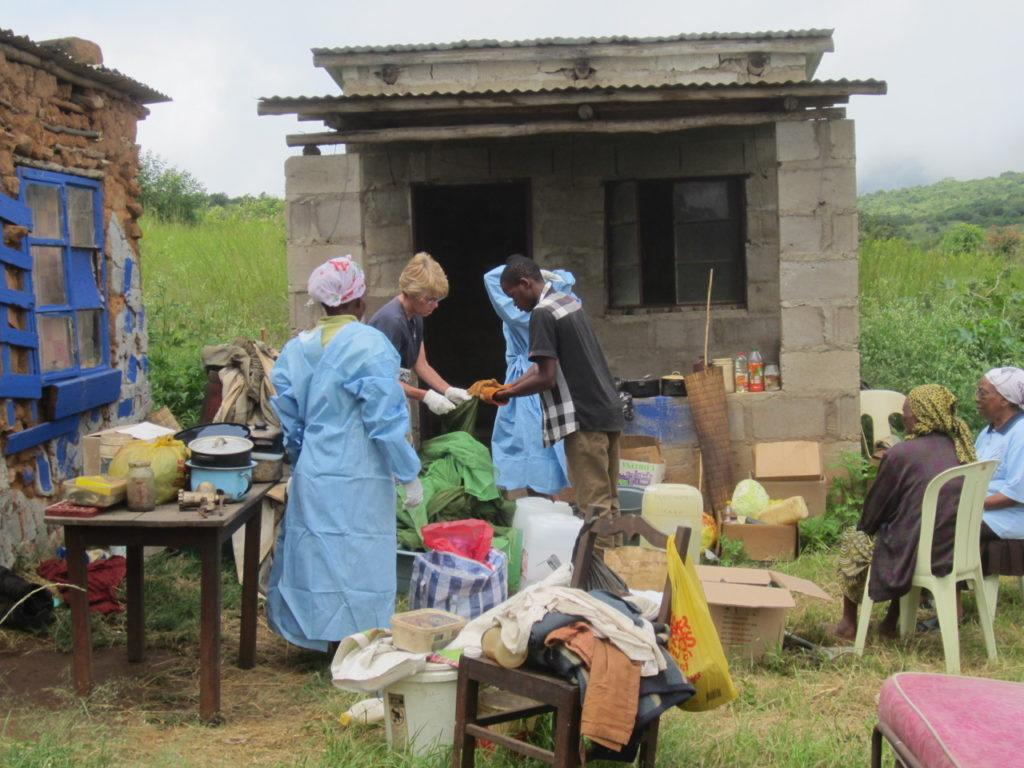 CMMB volunteer Kathleen with home-based care team in Swaziland