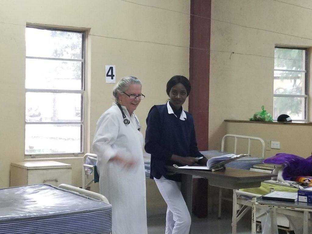 Patricia working at the Mwandi Mission Hospital