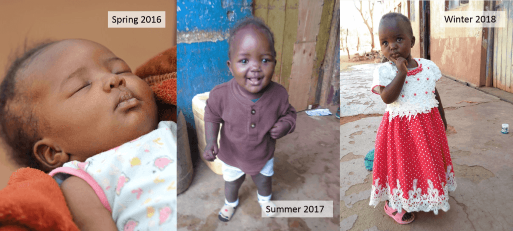 Gloria was able to receive the healthcare she needed thanks to a CMMB donor. This image shows three photos showing her growth over the years.