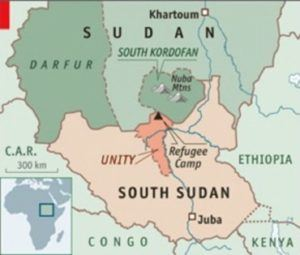 Map of Sudan and the Nuba Mountain
