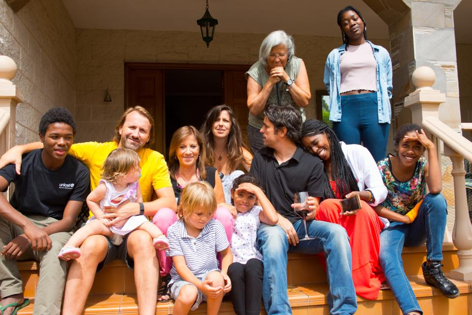 Pilar and her family at home in spain