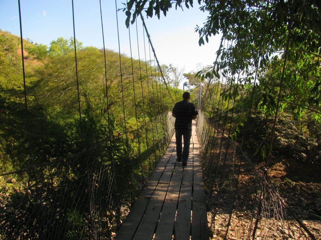 Martin Rubino crossing a bridge
