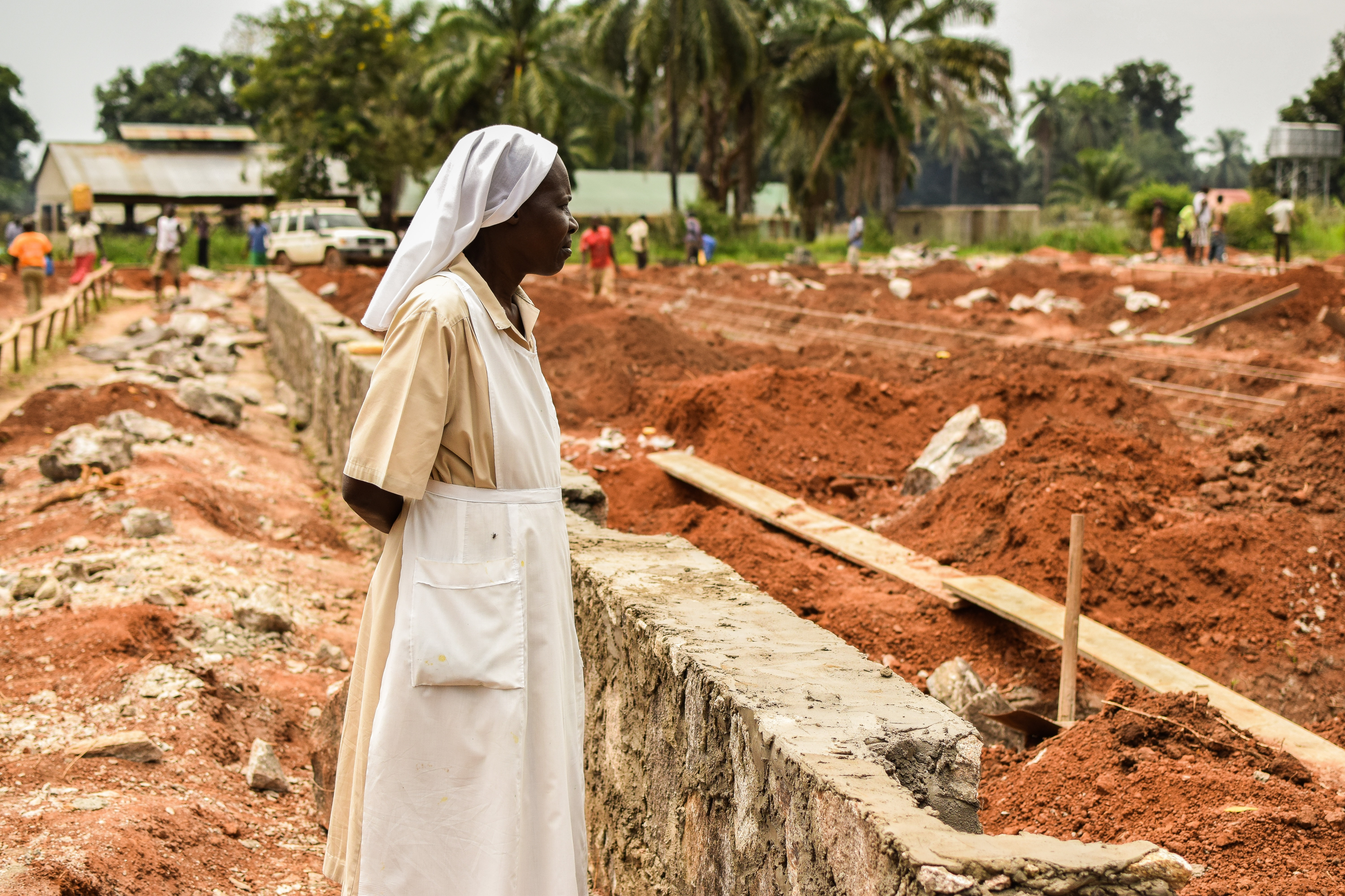 Sister Jane at Building Project for St. Theresa Hospital in Nzara