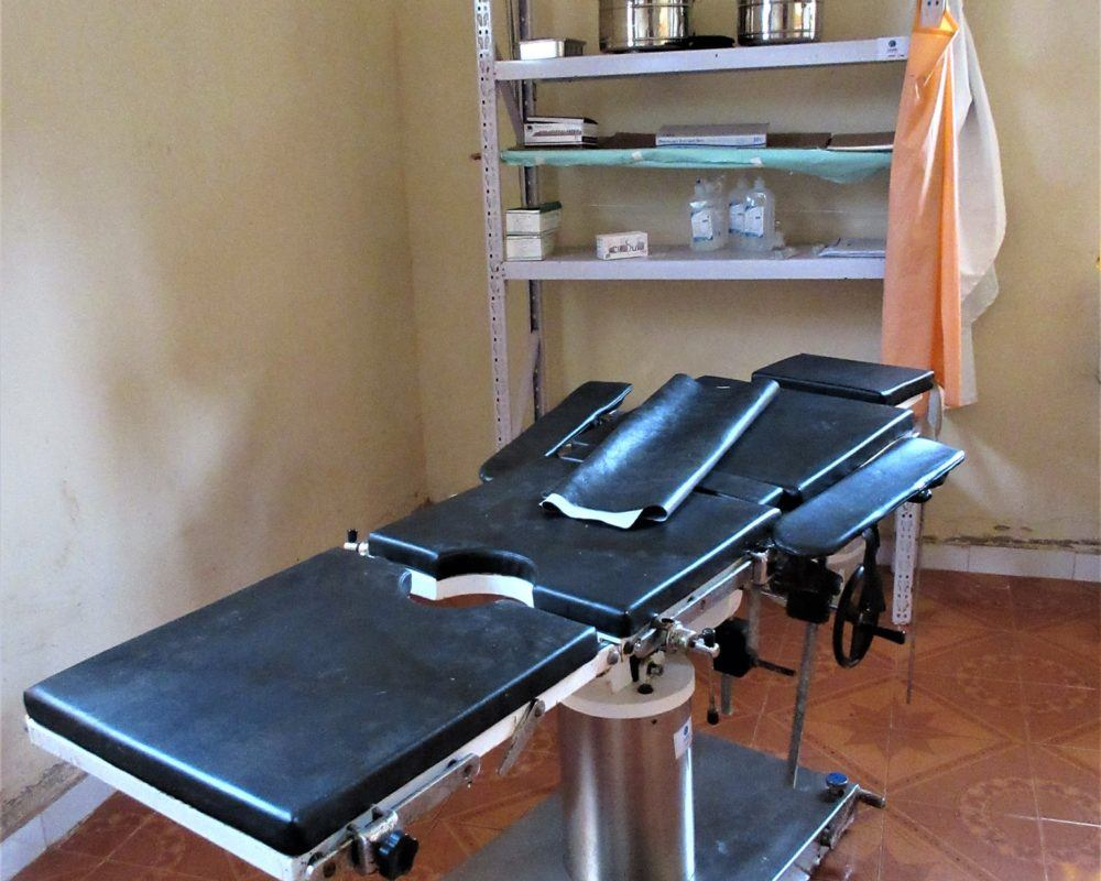 delivery bed in St Therese hospital, Nazara, South Sudan