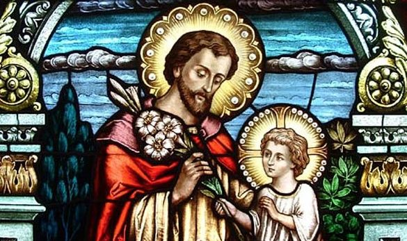 st-joseph-the-carpenter with child jesus stained glass window