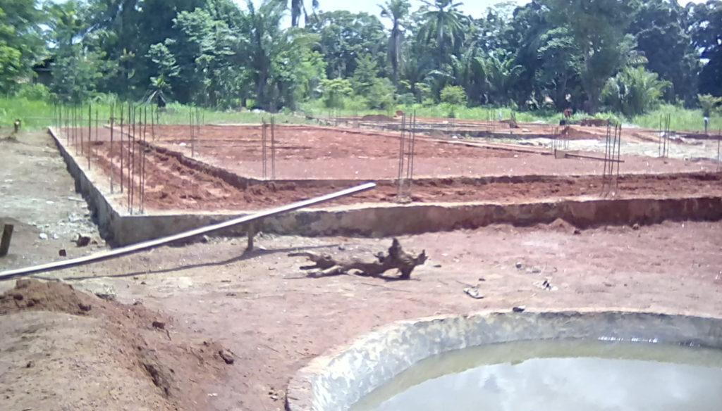 Foundations for the maternity ward were completed last week. Backfill with murram soil was completed this week and mechanical compaction is underway
