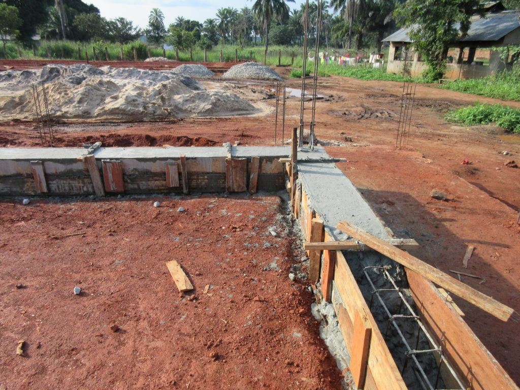 Reinforced concrete plinth beam poured at maternity ward for the expansion of St. Theresa Hospital in Nzara, South Sudan on June 10.