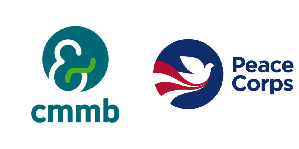 A series of photos featuring the CMMB logo and the Peace Corps logo