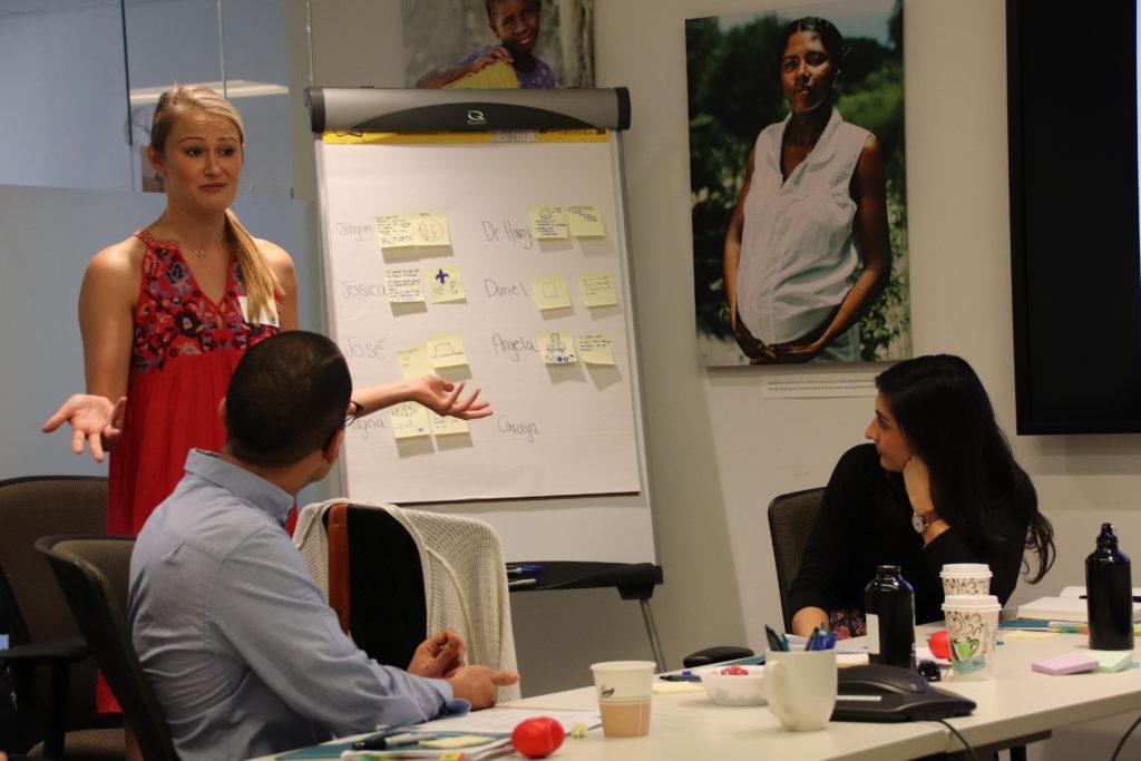 International volunteer Jessica sharing at the July 2018 volunteer orientation