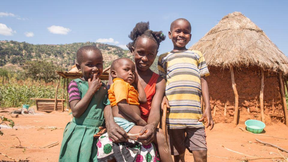 Kalewa and his family at home