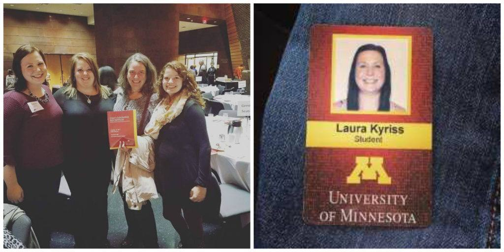 Laura Kyriss at the University of Minnesota (left). Laura Kryiss's student ID badge for university (right)
