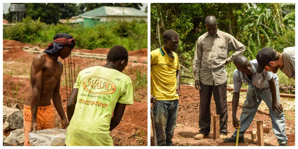 Photo collage of workers and Martin Rubino working on the expansion of St. Theresa Hospital in Nzara.
