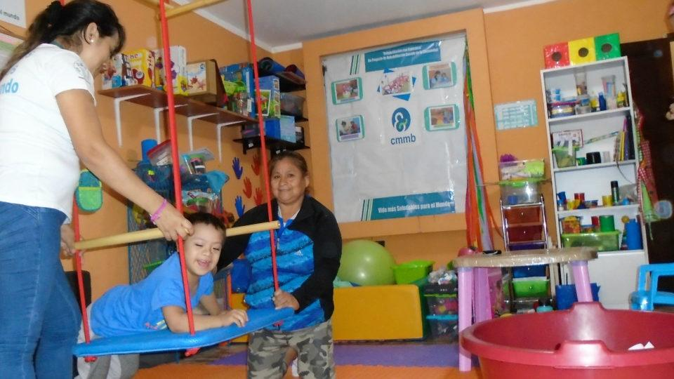 Rodrigo having a little fun during therapy - CMMB Peru Angel