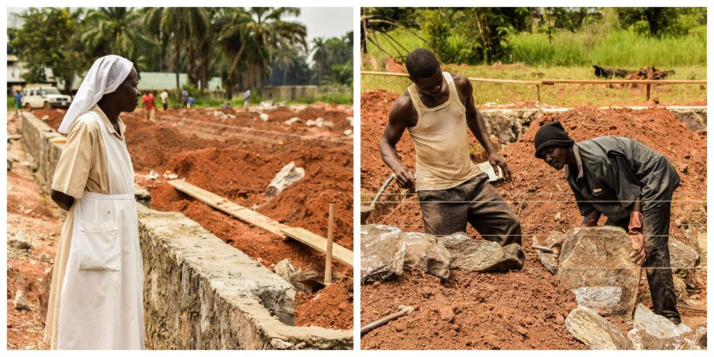 A photo of sister Jane and another photo of two workers at the expansion site of St. Theresa Hospital in Nzara.