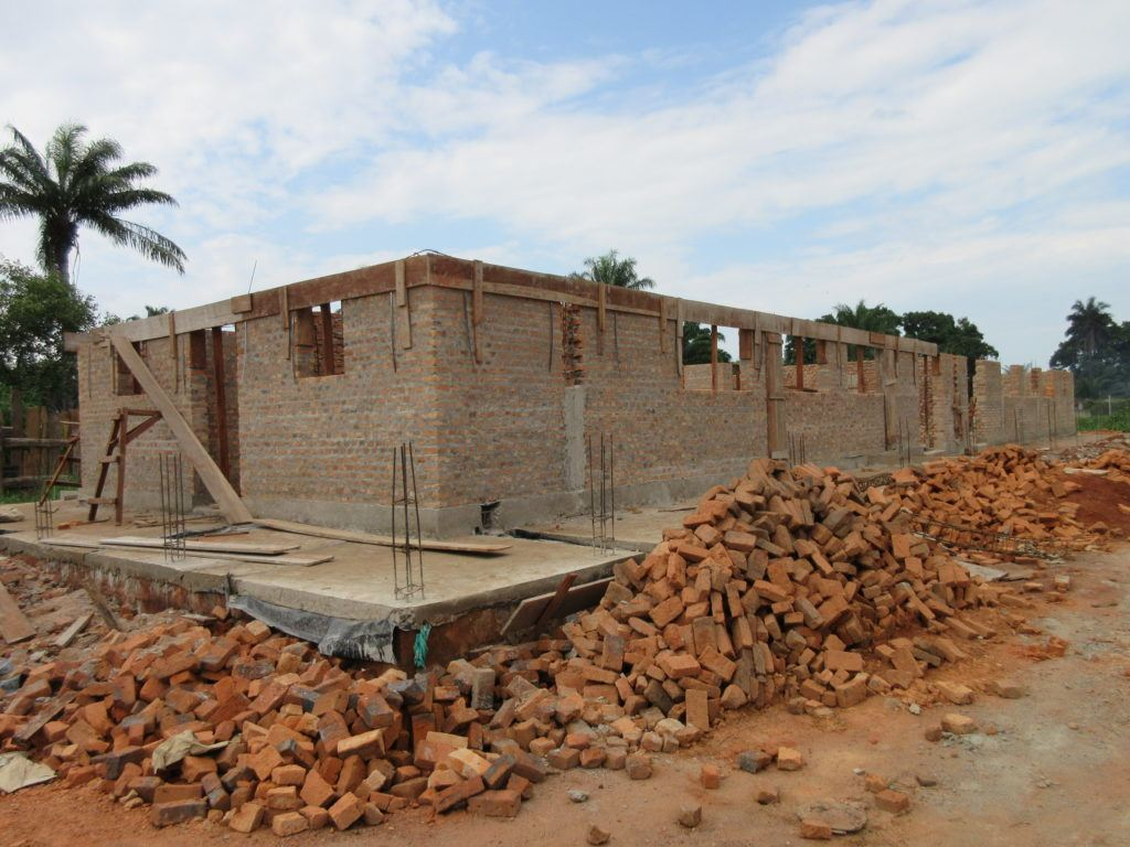 Progress on the surgical ward at St. Theresa Hospital as of July 15. The walls are substantially built up.
