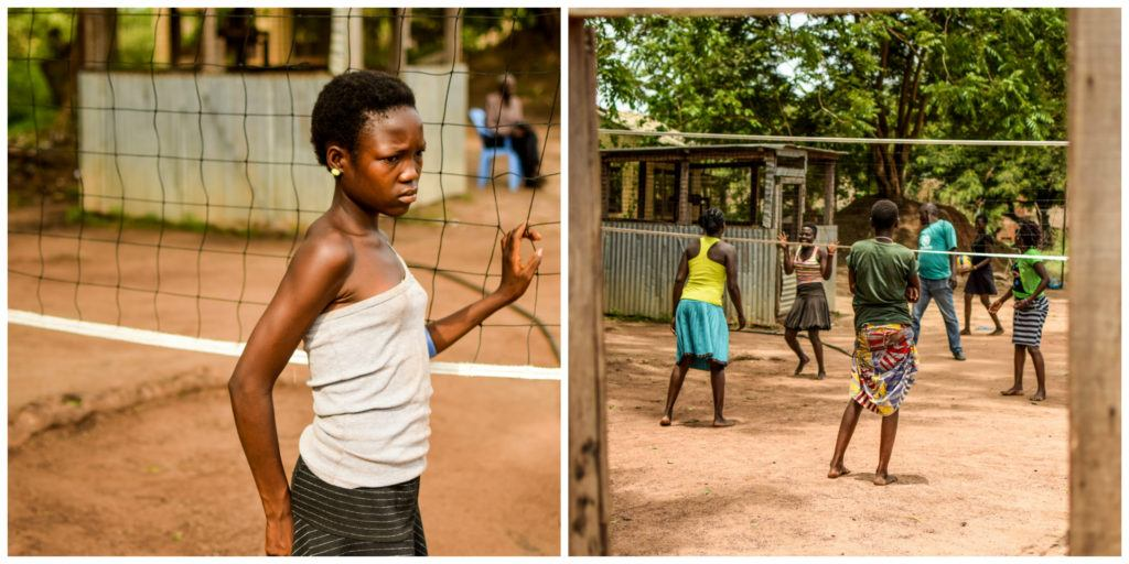 Former child soldiers participating in play therapy at the transit center.