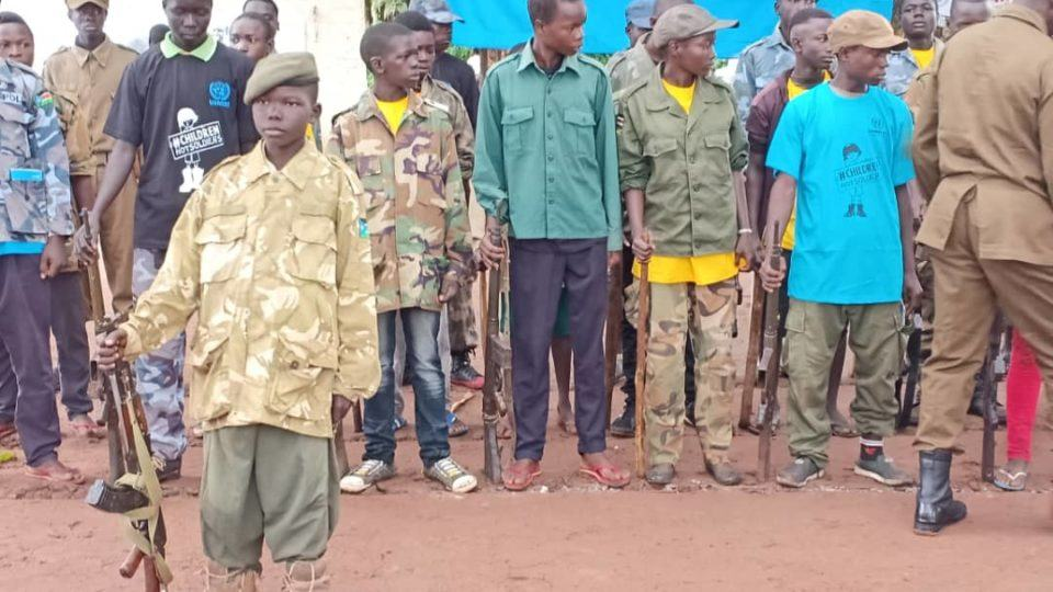 former child soldiers being released during ceremony